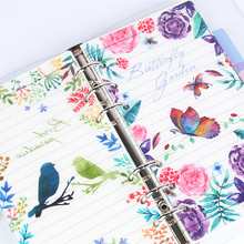 Jamie Notes Bird And Flowers PP Notebook Dividers For Filofax  Dokibook A5a6 Planner Index Plate Accessories 5pcs/lot Stationery