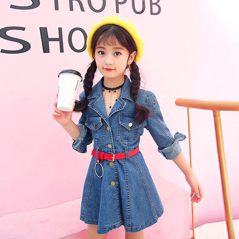 Children Denim Dresses Girls Denim Dresses for Kids Jeans Dresses Autumn Vestidos Infantil Baby Clothing Girls Dresses with belt<br>