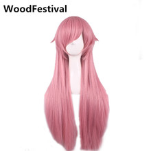 WoodFestival 70 cm hair heat resistant long pink wig cosplay women synthetic straight wigs with bangs(China)