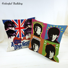 Cushion Covers The Beatles Band British flag Letter Red Lips Tongue For Children Decor For Home Sofa Car Seat Throw Pillow Cases(China)