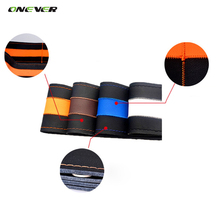 Onever 1pcs Universal Yellow/Red/White/Blue DIY Car Steering Wheel Cover Case With Needles and Thread Fiber leather High Quality(China)