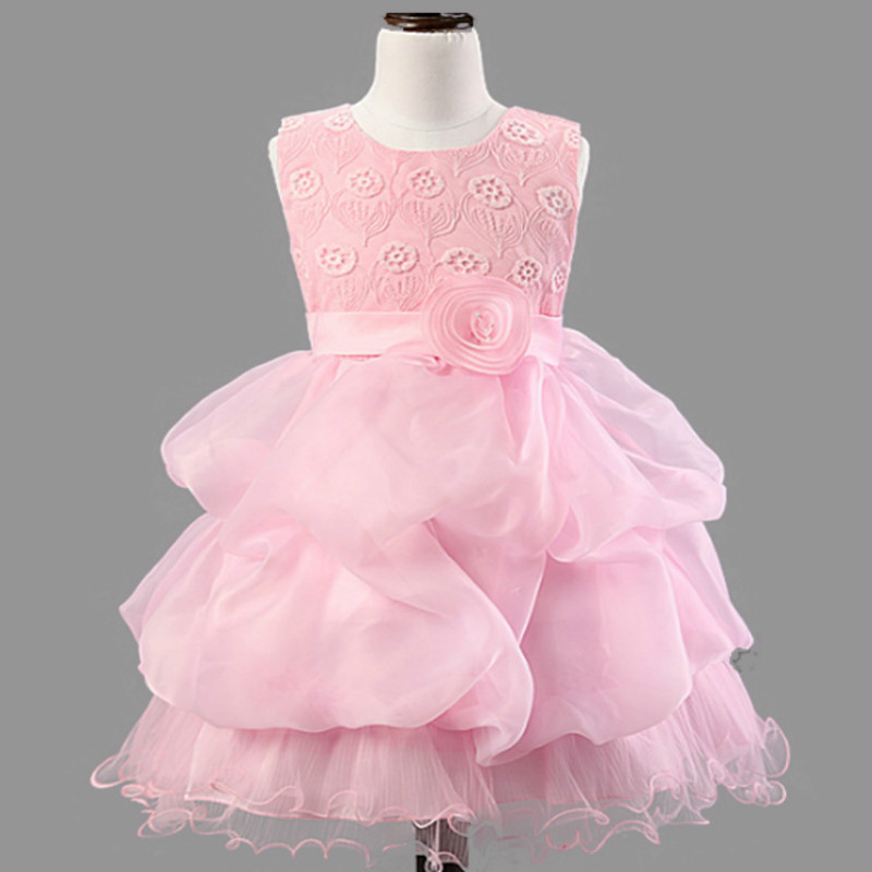 LSK011 Fancy Floral Girls Party Dress Cake Layers Belted Princess Dress Sleeveless Baby Girls Dress 2017 Brand New 6 Colors<br><br>Aliexpress