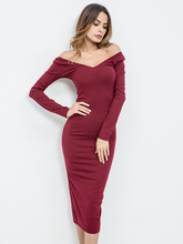 Buy 2018 winter dress women shoulder slash neck long sleeve knitted long dress grey red mid-calf casual party office sexy dress for $20.21 in AliExpress store
