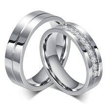 New Couple Engagement Ring Lovers Rings for Women and Men Stainless Steel Jewelry AAA+ CZ Stone Wedding Band Never Fade or Rust