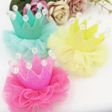New Arrival Chiffon Lace Decorated 3D Fabric Princess Pearl Royal Crown Patch Stickers Fit for Girls Headband Hair Clip Headwear