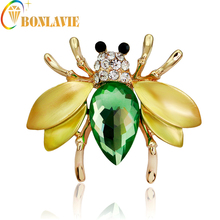 1 Piece High Quality Lovely Pretty Bee Brooches Enamel Esmalte Broches Gold Color Yellow Rhinestone Hijab Pins 2 Colors