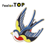 New Gold-Color with Red Blue Yellow Enamel Lovely Bird Swallow Brooches for Fashion Lady Accessories