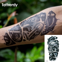 Temporary tattoos 3D black Robot mechanical arm fake transfer tattoo stickers hot sexy cool men spray waterproof designs C058(China)