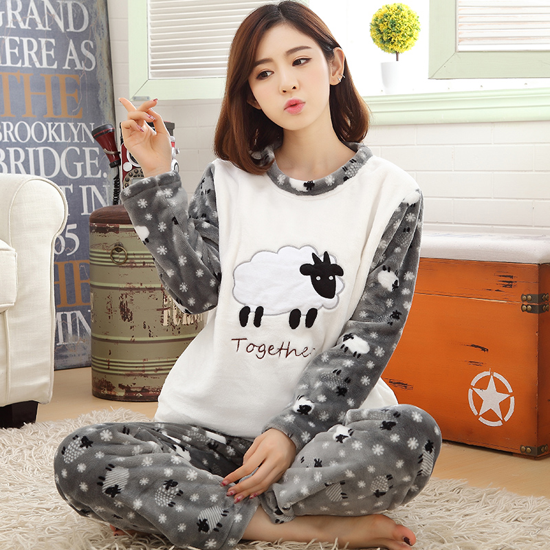 New Winter Warm Flannel Women's Pajamas Set Cartoon Sheep Coral Fleece Sleepwear Men Pyjamas Mujer Lady Casual Home Clothing 3XL