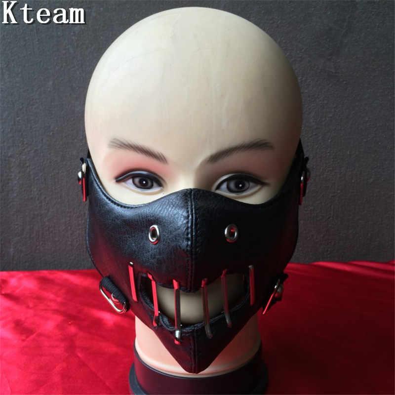 Кожаная маска на лицо бдсм, рыжую волосатую трахнули в три дырки