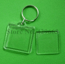 Free shipping 1000pcs Square Shaped Transparent Blank Photo Picture Frame Key Ring Split Ring keychain Gift For Men Women