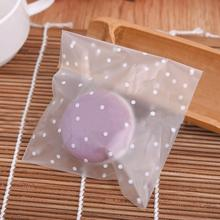 100pcs Candy Gift Bags White Dots Transparent Self Adhesive Christmas Cookie Bags Birthday Party Wedding Cookie Pouch 4 Sizes
