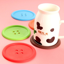 1pc Creative Button Shape Rubber Cup mats&pads Antiskid&Heat insulation round Coffee Mats Fashion style Table Decoration KP017