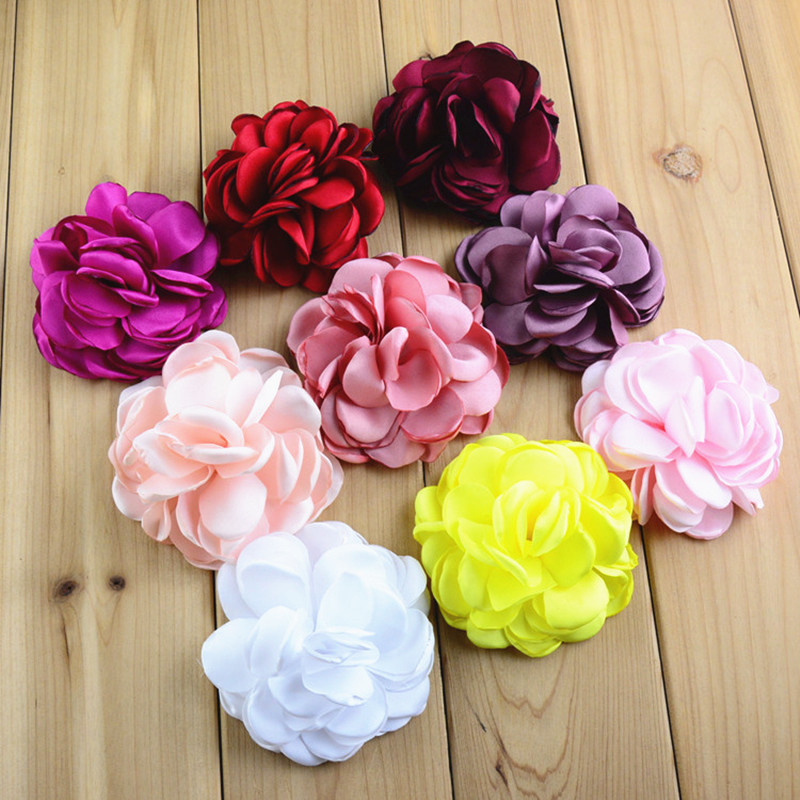60 pcs/lot , 3 inch Large Heat Sealed Matte Satin Petal Flowers- handmade satin flower for DIY Hair Accessories(China)