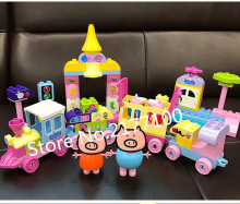pink pig toys Series the Amusement park Toys train building blocks Big Particle Family Toy Baby Birthday Gift Compatible Duploe