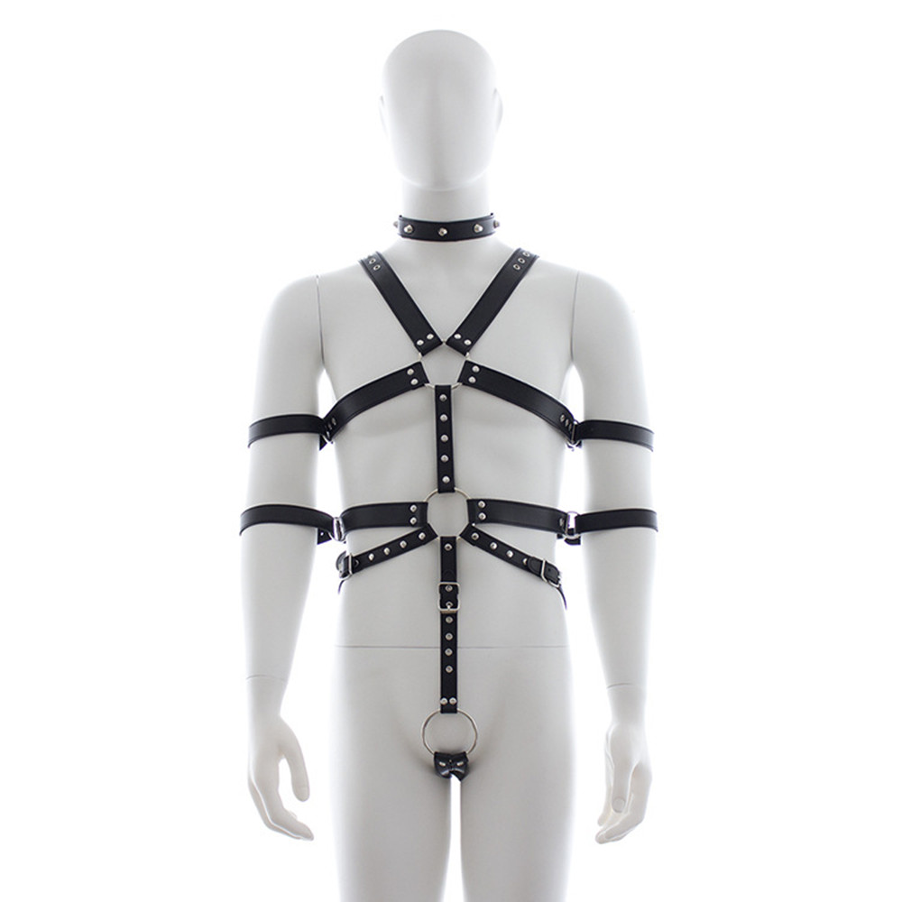 PU Leather Male Chest Harness Bondage Slave Restraints Belt In Adult Games , Fetish Sex Products Adult Toys For Men<br>