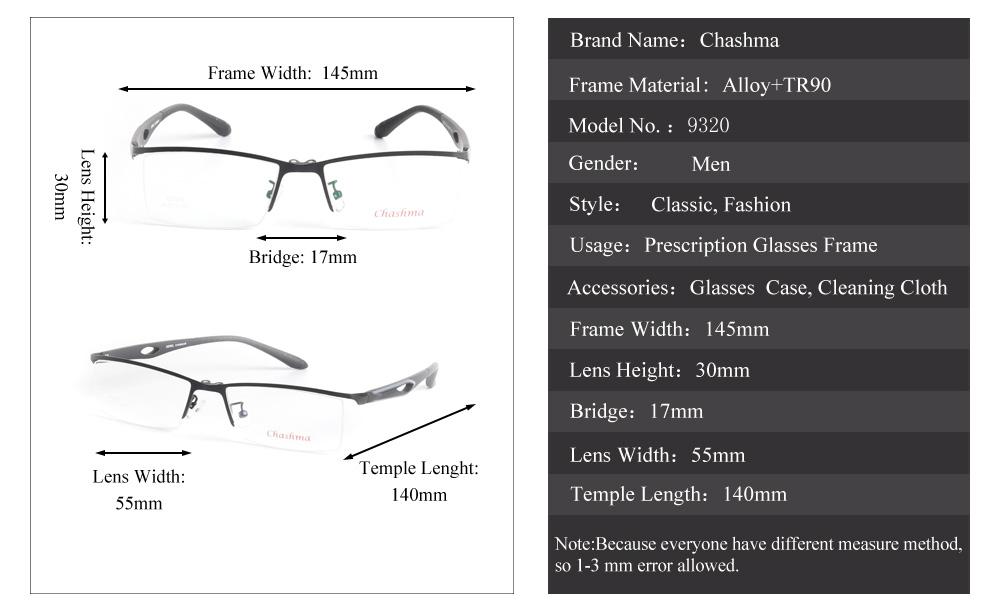 Großhandel Chashma Marke Design Half Frame Legierung Optische Gläser ...