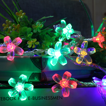 AC220V 5M 28 LED Peach Flower string lights waterproof outdoor new fairy Christmas Garden Garland decorations for home navidad
