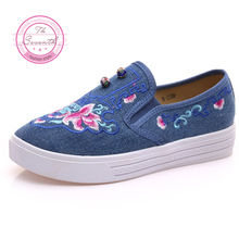 4Colors Enamel Plate Shoes Chinese Fashion Female Embroidered Casual Shoes Women Shoes Small White Shoes(China)