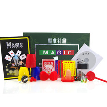 AJP Magic Gift Box Set Explode Explosion Dice Atom Playing Card Magic Sponge Hearts Three Cups Balls Magic Tricks Children Toy(China)