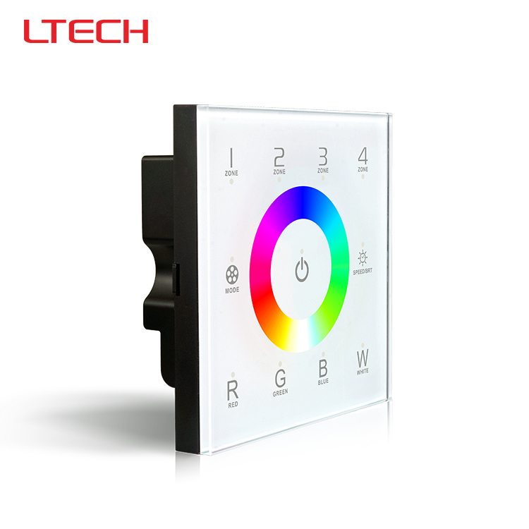 D8 touch panel rgbw led controller,2.4g rf wireless 4 zones control dmx512 signal ouput for rgbw led strip bulb dc12-24v<br>