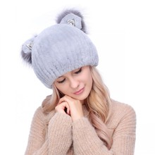 Rex Rabbit Fur Hat Lady winter warm earmuffs are thickened cold cat ear cap(China)