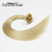 "FOREVER HAIR 0.8g/s 18"" Remy U TIP Human Hair Extension Platinum Blonde #60 Straight European Fusion Pre Bonded Hair Extension"
