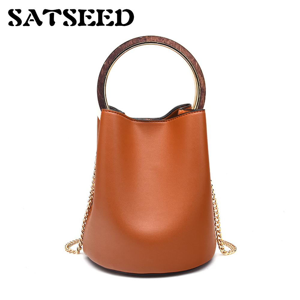 2017 New Female Bag Tide Bucket Round Ring Hand Bag Portable Tote Basket Bag<br>