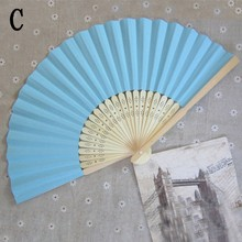 Summer Chinese Hand Paper Fans Pocket Folding Bamboo Fan Wedding Party Favor 2016