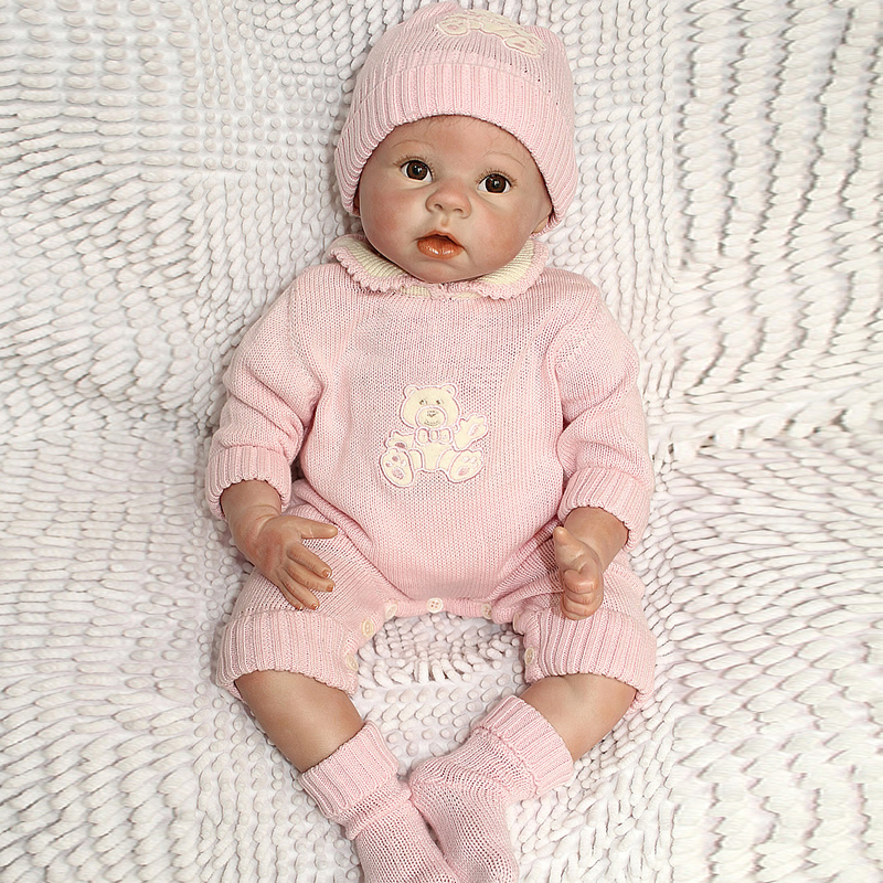50-55CM Silicone Reborn Baby Doll Top Quality Handmade Soft Touch Body Vinyl Realistic Baby Doll With Pink Clothes Best<br><br>Aliexpress