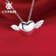 2017 Promotion silver  Fashion  Angel Wing Heart Pendant Charm Necklace 18inch women lady girl gift hot  Wholesale Price CYPRIS