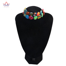 2017 Latest Design Double Layers Botton Choker Necklace African Cotton Fabric Handmade Jewellery Collares for Women BRW WYS24