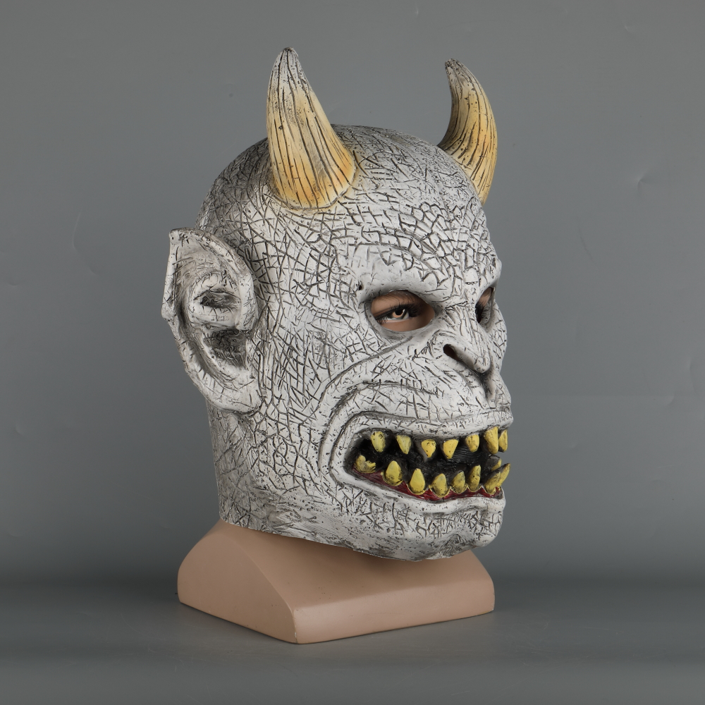 Scary Demon Devil Horror Halloween Latex Mask With Horn Cosplay Prop Masquerade Mask Adult (4)