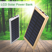 16000mAh Solar Power Bank with LCD ultra thin External solar charger powerbank for all mobile phone for outdoors/camping/explore