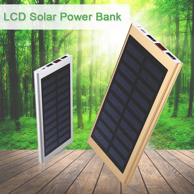 10000mAh Solar Power Bank with LCD Ultra Thin External Solar Charger Quick Charge Powerbank for Xiaomi/S8/iPhone 8(China (Mainland))