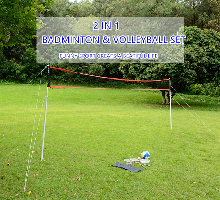 HTB168BShzihSKJjy0Fiq6AuiFXa0 - Sports 2 in 1 recreational badminto and volleyball combo set :net poles,ball,rackets &shuttlecock -portable euqipment for lawn