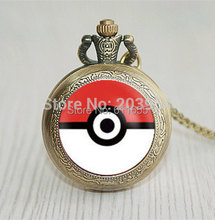 Pocket watch manual pokemon Pokeball 1pcs/lot quartz pocket watches pokemon fashion jewelry gifts womens man steampunk new 2017