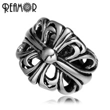 REAMOR Fashion 8mm Hollow Cross Beads 316l Stainless steel Big Hole Spacer Beads For Jewelry Making DIY Men Bracelet Bead