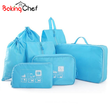 BAKINGCHEF Travel Storage Set Clothes Shoes Lingerie Digital Suitcase Divider Bags Cases Tidy Closet Organizer Items Accessories(China)