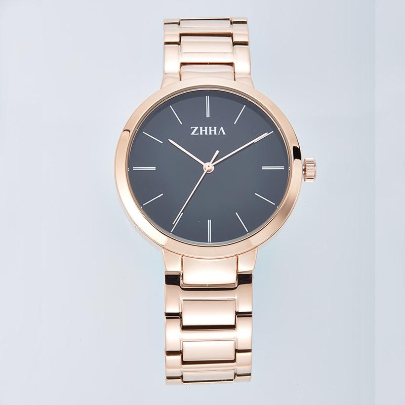 ZHHA Lovers Women Man Gold Wristwatch Stainless Steel strap Analog Quartz Fashion Casual Watch ZW062 Masculino Feminino Relogio<br><br>Aliexpress