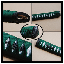 Straight Tsuka Green Silk Ito & Imitated White Rayskin & Alloy Fuchi Kashira for Japanese Samurai Sword Katana Handle Fitting H8