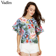 Vadim women sweet ruffles loose floral shirts short sleeve o neck blouse European style flower print tops blusas DT1052(China)