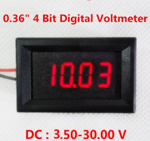 New arrival mini Red LED digital voltmeter 4 bit 0.36 inch Panel Volt Meter Car battery Voltage Meter Detector DC 3.50-30.00V