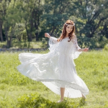 New Spring Women dress Flare Sleeve 2017 Long Embroiderautiful Day Is A Big Place Dresses White 6865