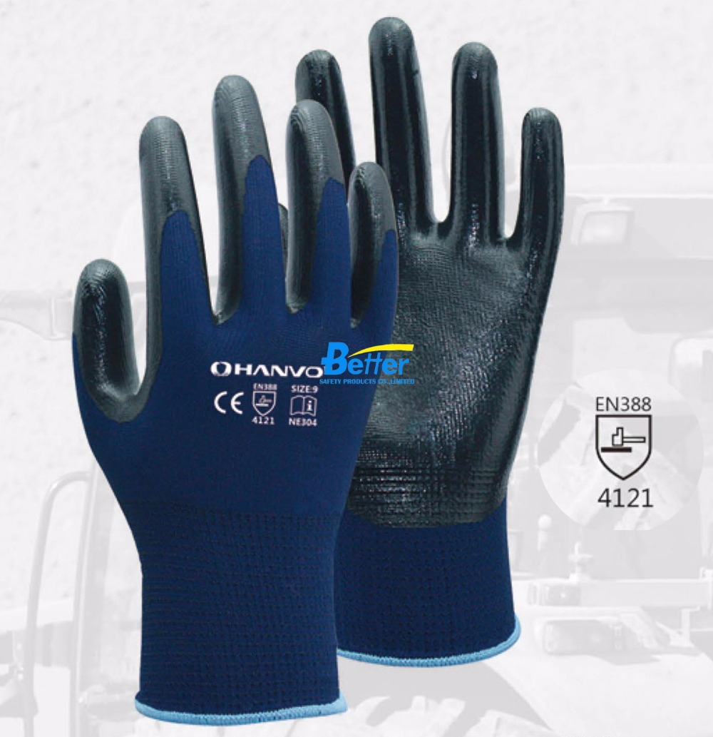 Safety Glove 13 Guage Blue Polyester With Nitrile Dipped Work Glove<br><br>Aliexpress