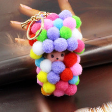 Luxury Cute Color Little Fur Ball KiKi Keychain Monchichi Keyring Women Girl Bag Charm Key Chains Purse Accessories Jewelry