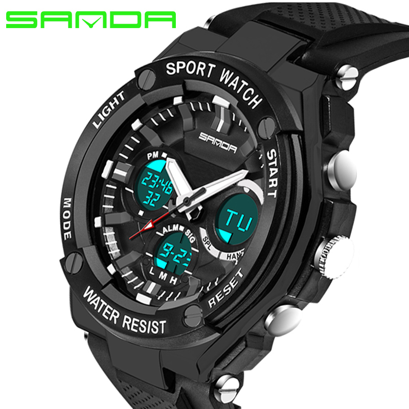 SANDA Watches Men Water Resistance 30m Luxury Brand Digital Military Multi Function Silicone Sports Watches For Boys Male Clock<br><br>Aliexpress