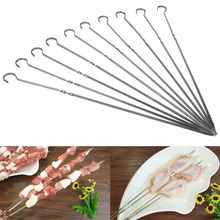 10PCS BBQ Barbecue Grilling Cooking Long Stainless Steel Flat Skewers Needle New