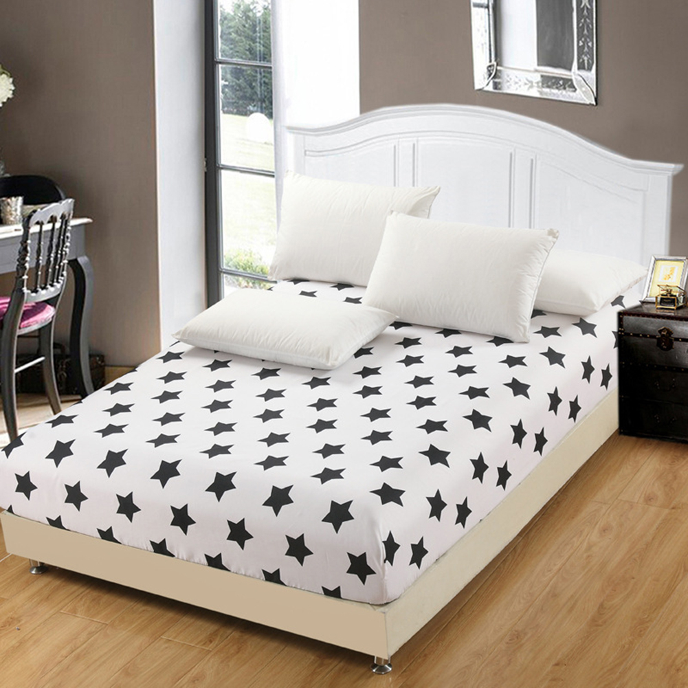 Cheap White Black Star Fitted Sheet Bedsheet Bedroom Polyester