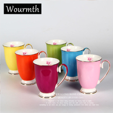 WARMTH Colorful Ceramic Cup Floral Milk Mug Large Capacity 300ml Creative Fashion Couples Office Breakfast Coffee Water Cup